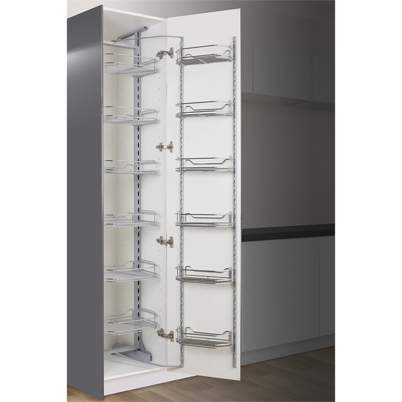 Kaboodle 450mm chrome 6 tier pantry pullout baskets for Kitchen cabinets bunnings