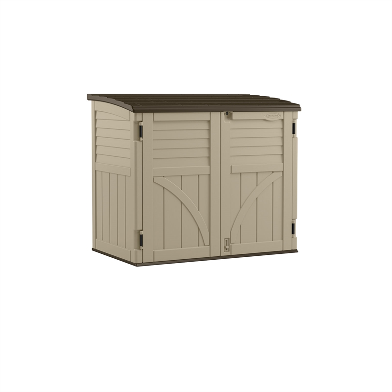suncast ft w ip storage horizontal plastic garbage d in sheds x shed