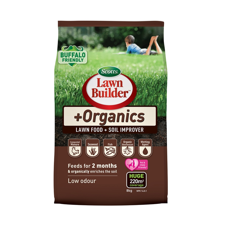 Scotts lawn builder 8kg plus organics lawn food and soil for Soil improver