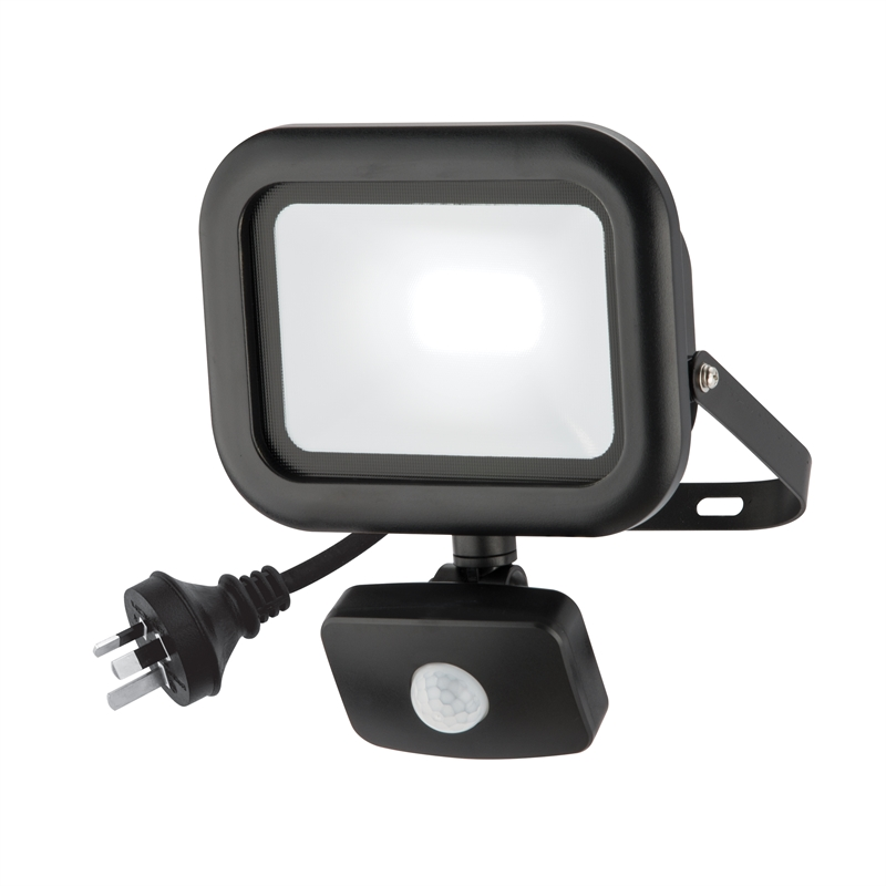 50w Led Flood Light Bunnings: Arlec 20W LED Black Flood Security Light With PIR Sensor