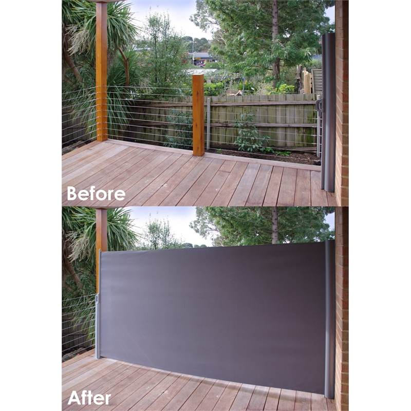 Pillar products 1 6 x 3m charcoal retractable patio screen for Retractable deck screens