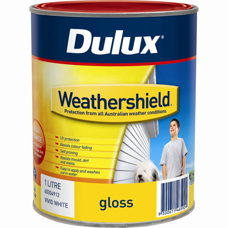 Dulux weathershield 1l gloss vivid white exterior paint bunnings warehouse - Exterior white gloss paint image ...