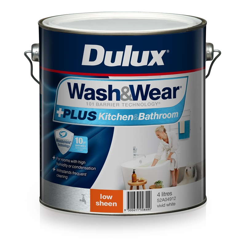 White Bathroom Paint Dulux dulux wash&wear 4l +plus kitchen & bathroom vivid white low sheen