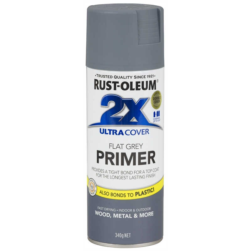 Rust Oleum 340g Ultra Cover 2x Grey Primer Spray Paint Bunnings Warehouse