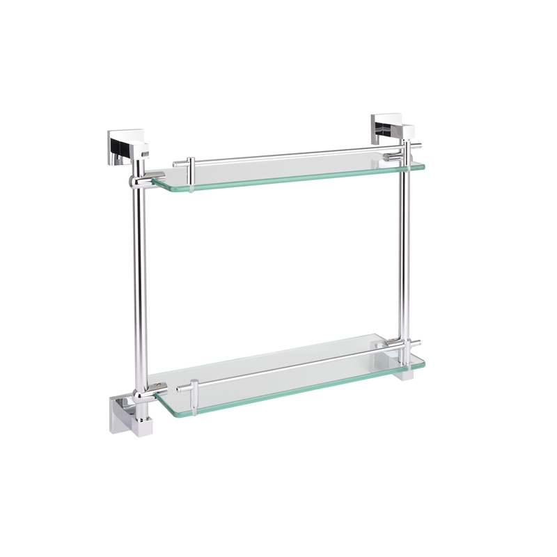 Rococo 420mm Chrome Double Layer Glass Shelf