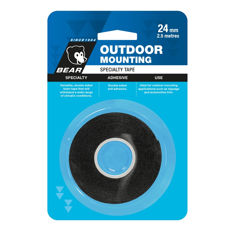 Bear 24mm X 2.5m Black Outdoor Mounting Tape