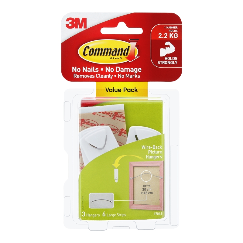 Command 22kg Wire Backed Picture Hanger 3 Pack Bunnings Warehouse