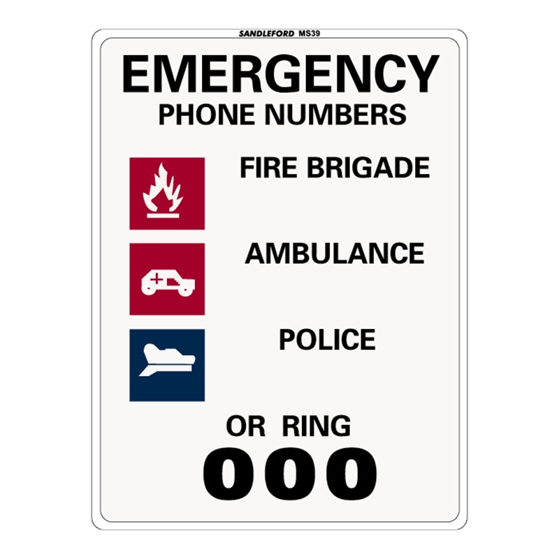 Sandleford 300 x 225mm Emergency Phone Number Plastic Sign