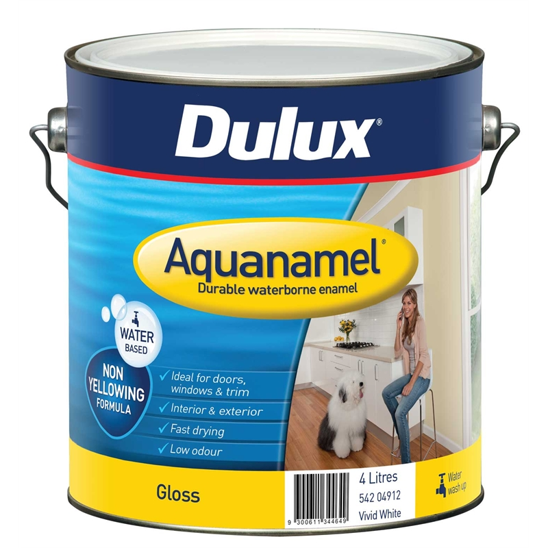 Dulux aquanamel 4l white high gloss enamel paint bunnings warehouse - Exterior white gloss paint image ...