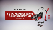 About Ozito Power X Change 2 x 18V Cordless Mower and Grass Trimmer Kit