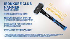 About Kincrome 1.8kg/4lb IronKore Club Hammer