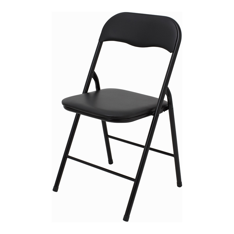 Marquee Padded Vinyl Black Folding Chair