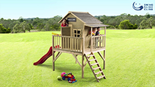 About Swing Slide Climb 140 x 368 x 253cm Timber Outback Cubby House With Slide